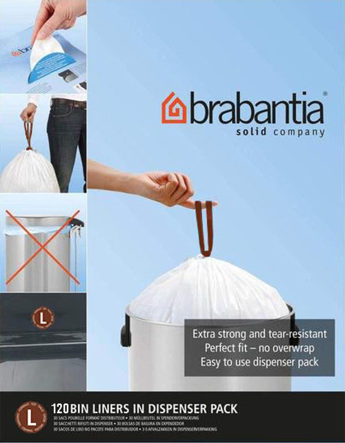 Brabantia Size L SmartFix Perfect Fit Bin Liners 45 Litre 120 Bags - Pack of 12