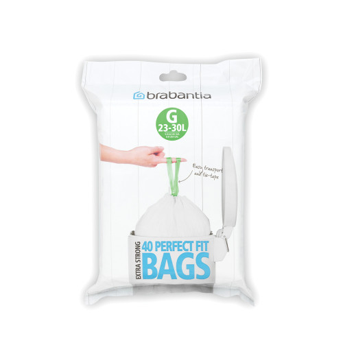 Brabantia Size G SmartFix Perfect Fit Bin Liners 23 to 30 Litre 40 Bags Dispenser Pack