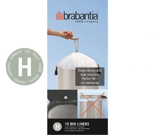 Brabantia Size H SmartFix Perfect Fit Bin Liners 50 to 60 Litre 10 Bags Roll