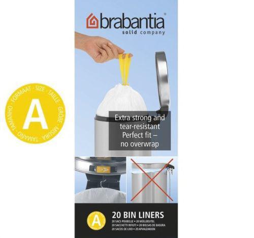Brabantia Size A SmartFix Perfect Fit Bin Liners 3 Litre 20 Bags Roll