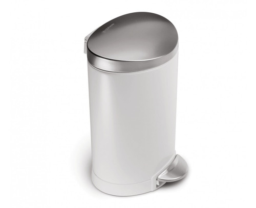 simplehuman 6 Litre White Steel Semi-Round Step Can
