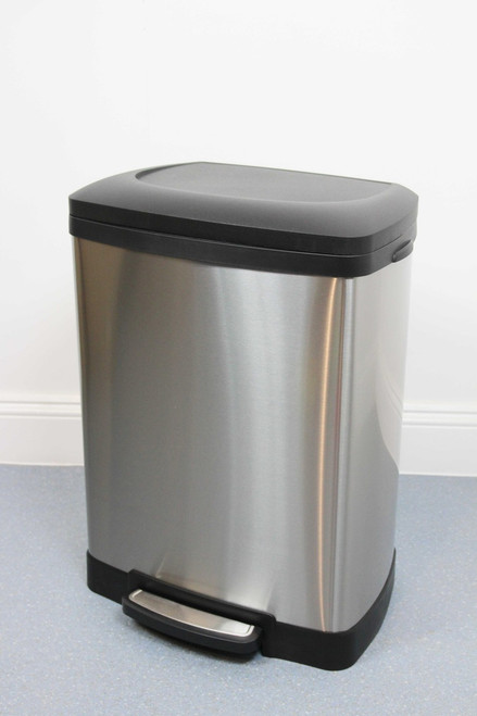 50L Rectangular Brushed Stainless Steel Pedal Bin with Soft Close Lid