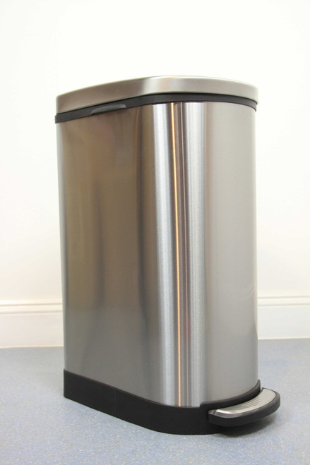 40L Narrow Brushed Stainless Steel Pedal Bin with Soft Close Lid