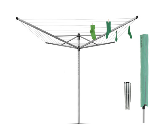 Brabantia Lift-O-Matic 60m Outdoor Airer with Cover and Ground Spike