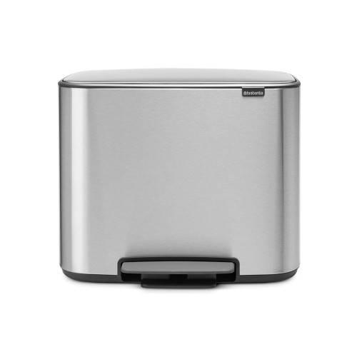 Bo Pedal Bin With 2 Inner Buckets, 11 + 23 Litre - Matt Steel