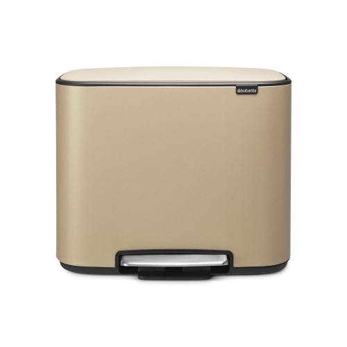 Bo Pedal Bin With 2 Inner Buckets, 11 + 23 Litre - Mineral Golden Beach