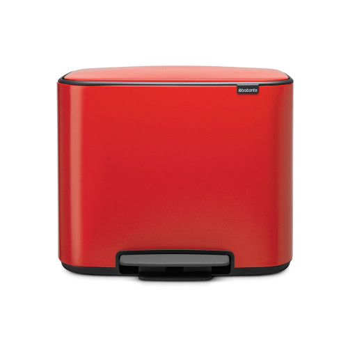 Bo Pedal Bin With 3 Inner Buckets, 3 x 11 Litre - Passion Red