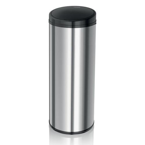 Morphy Richards 50L Round Sensor Bin w/Black Lid and Polished Steel Body