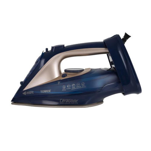 Tower CeraGlide 2400W Cord Cordless Steam Iron Blue and Gold