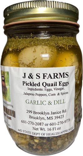J&S Farms Garlic & Dill Pickled Quail eggs | The Pickled Store