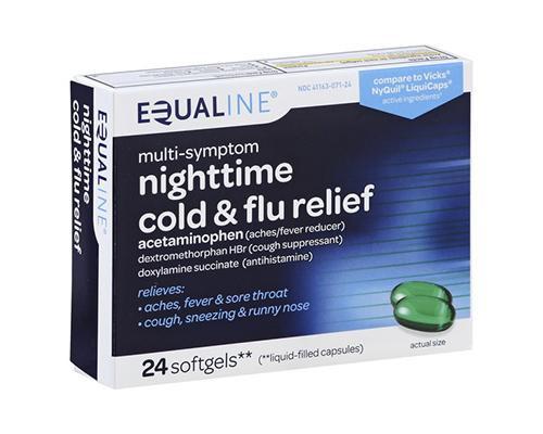 Equaline Nighttime Cold & Flu Relief 24 Softgels