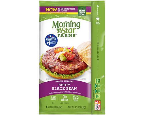 Morning Star Farms Veggie Burgers Spicy Black Beans - 4 ct • 9.5 oz