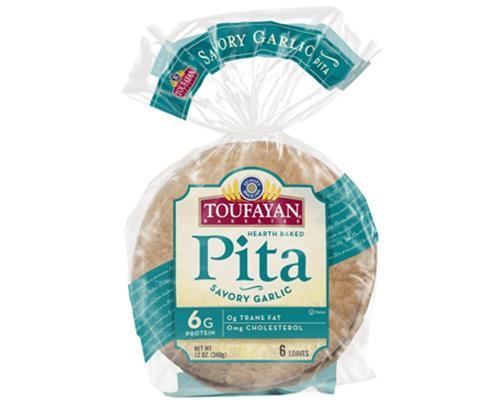 Toufayan Pita Bread Garlic - 6 ct • 12 oz