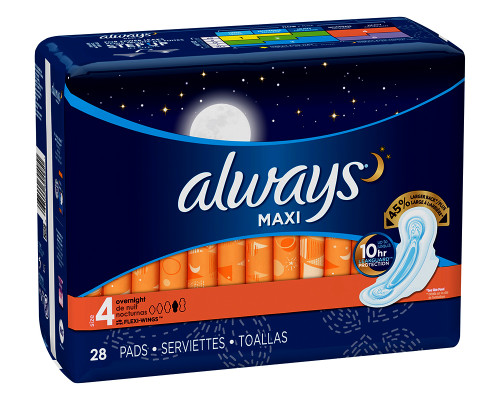 Always Maxi Overnight with Wings Size 4 - 28 ct