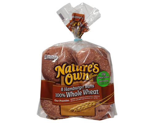 Nature's Own Hamburger Whole Wheat Buns - 8 ct • 15 oz