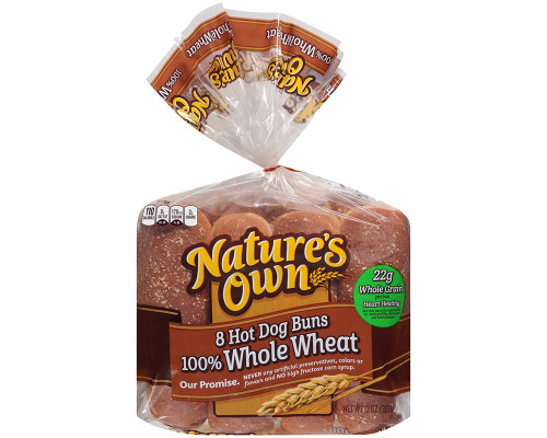 Nature's Own Hot Dog Whole Wheat Buns - 8 ct • 13 oz