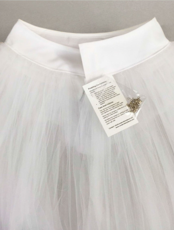 Conservatory C605 rehearsal tutu back view with hooks and eyes