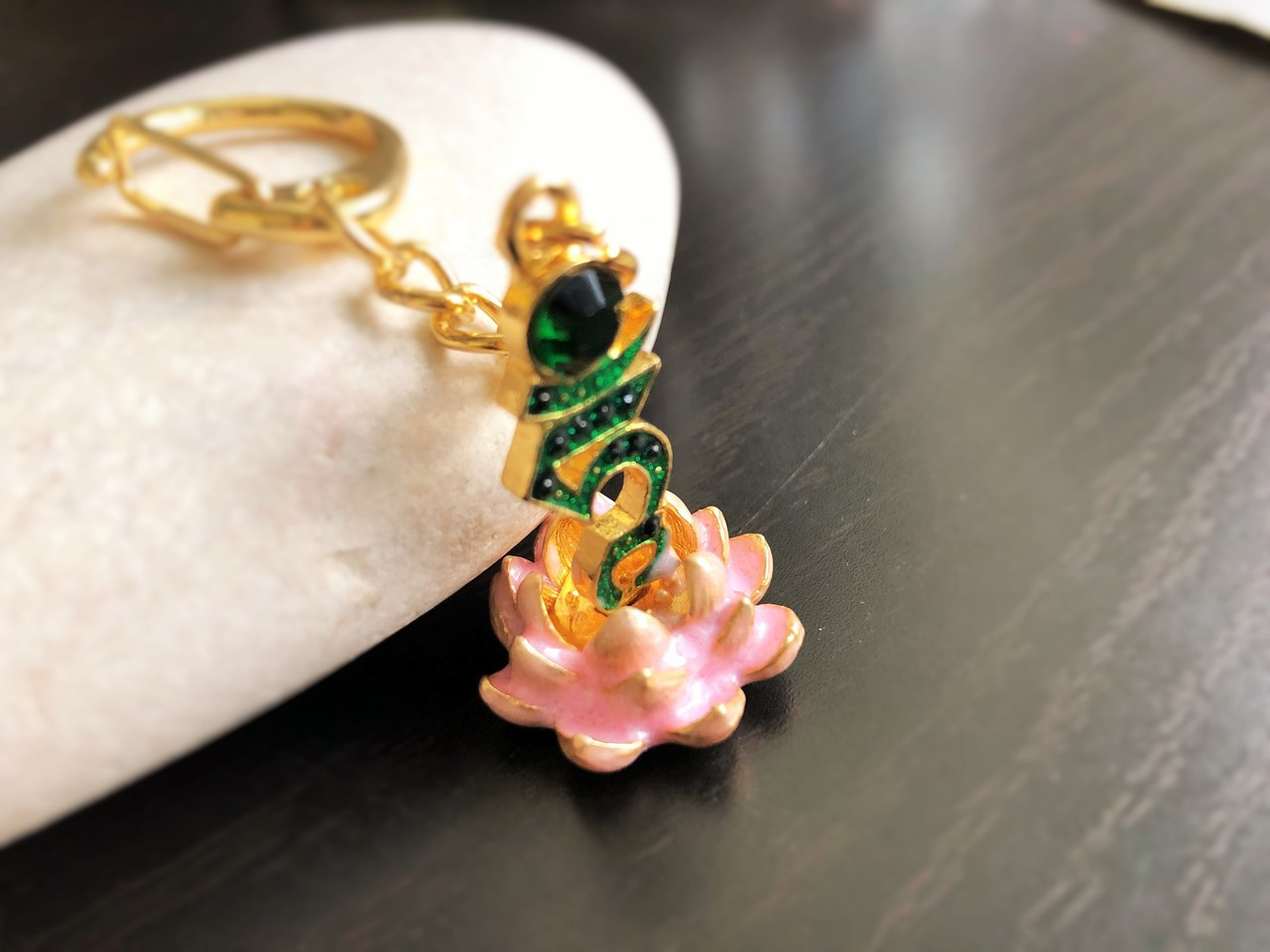 Feng Shui Bejeweled Tam Lotus Keychain Amulet