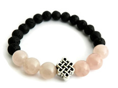 lava and rose quartz bracelet