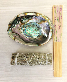 Smudging Kit:   1 Sage + Abalone Shell + Hand Fan