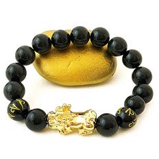 **FAVORITE Feng Shui Black Obsidian Bracelet - 18K GOLD + Real Obsidian