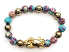 Feng Shui Pixiu Bracelet for Wealth- 18K Gold- Sea Sediment