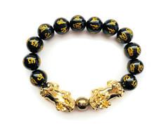 """""""FAVORITE"""" Feng Shui Obsidian Bracelet Twin Pixiu in 18K Gold-  FREE SHIPPING"""