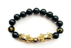 """FAVORITE"" Feng Shui Black Obsidian Bracelet Royal Twin Pixiu in 18K Gold -FREE SHIPPING"