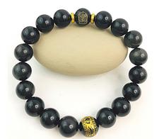 Feng Shui Obsidian Bracelet Armed Kuan Yin for Protection