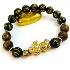 Wealth Bracelet- 18K Gold- Obsidian