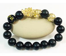 Pixiu Wealth Bracelet 18K Gold Obsidian+ 1 Money Ball
