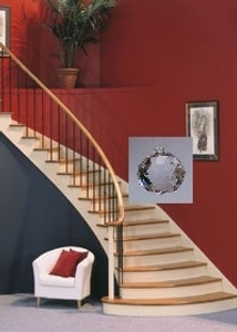 Cure for Interior Stairway facing front door hang a Crystal..
