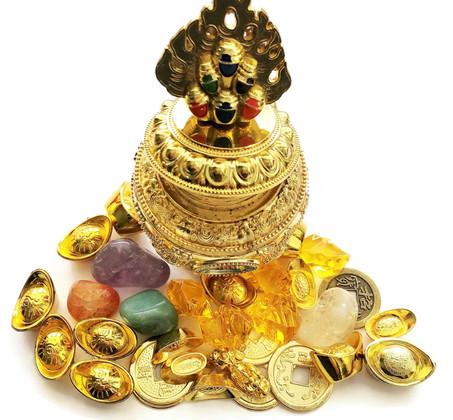 Dzambhala Wealth Vase loaded with Money Symbols