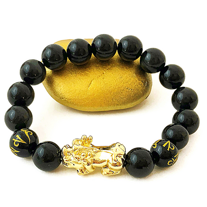 FAVORITE Feng Shui Black Obsidian Bracelet - 18K Gold- FREE SHIPPING