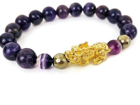 Feng Shui Pixiu Wealth Bracelet  Amethyst & 18K Gold