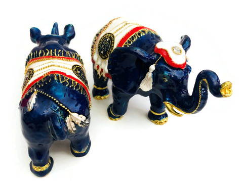 BLUE ELEPHANT & RHINO WITH TALISMAN FEATHERS AND ANTI-ROBBERY AMULET