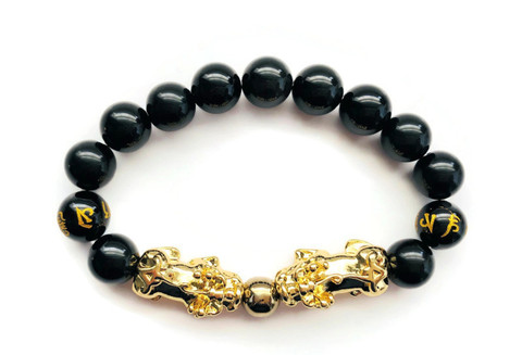 """FAVORITE"" Feng Shui Black Obsidian Bracelet Royal Twin Pixiu in 18K Gold -FREE SHIPPING"