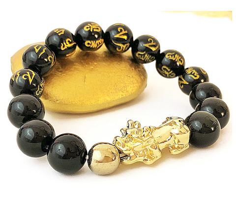 FAVORITE*** Wealth & Protection Feng Shui Obsidian Bracelet- 18K Gold + Real Obsidian