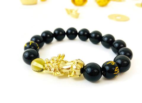 Feng Shui Black Obsidian Wealth Bracelet with Citrine & 18K Gold