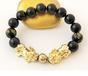 Royal Twin Pixiu - 18K Gold + Real Onsidian