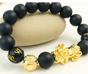Wealth Pixiu Onyx + Money Ball- 18K Gold