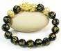 Pixiu Wealth Bracelet 18K Gold Obsidian + 2 Money Ball