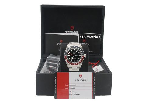 BNIB Tudor 79830RB Black Bay GMT Pepsi Stainless Steel Bracelet Box & Papers