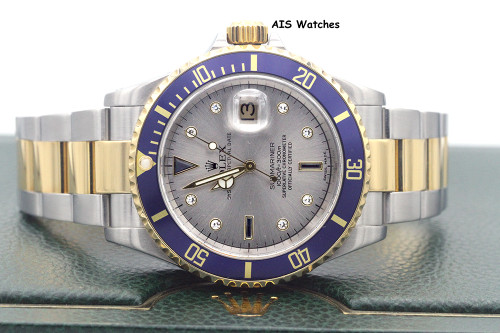 Rolex Submariner 16613 Y Serial Slate Serti Diamond Dial with Blue Insert B&P