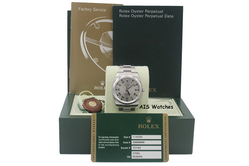 Rolex 114200 Air King 34 MM Steel Roman Dial - Hard Rock Cafe - G Serial B&P