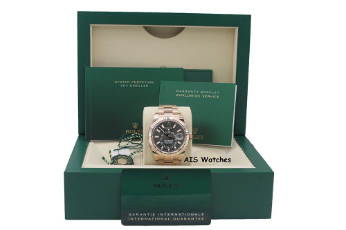 BNIB Rolex 326935 Sky-Dweller 18K Rose Gold Rhodium Dial Box & Papers