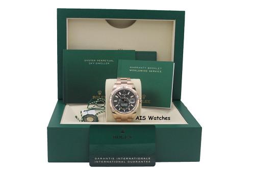 BNIB Rolex 326935 Sky-Dweller 18K Rose Gold Rhodium Dial Box & Papers