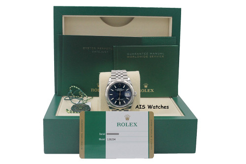 Rolex Datejust 36MM 126234 Jubilee Blue Stick Dial Stainless Steel B&P