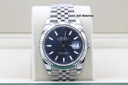 BNIB Rolex Datejust 41MM 126334 Blue Stick Dial Jubilee Bracelet Box & Papers