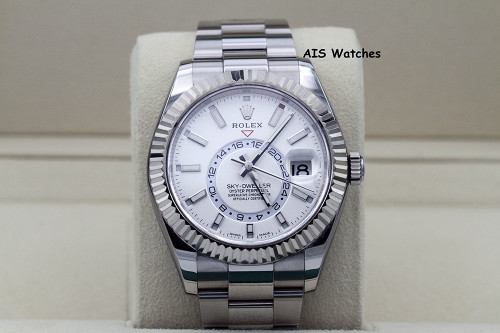 Rolex 326934 Sky-Dweller Stainless Steel White Dial Box & Papers